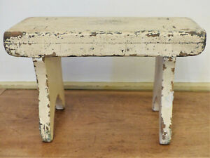 Antique 19th C Pa Mortised Boot Jack Legs Cricket Stool Bench Old Chippy Paint