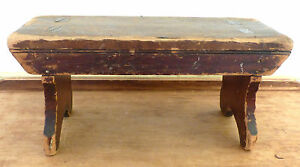 Antique 19th C Pa Mortised Boot Jack Legs Wooden Cricket Stool Bench Folk Art