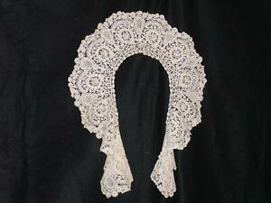 Brussels Rose Point Lace Circular Collar Antique Handmade 1920 S