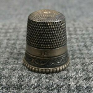 Antique Simons Brothers Size 10 Sterling Silver Sewing Thimble