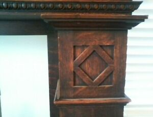 Unique Marble Quarter Sawn Carved Oak Turn Of The Century Fireplace Mantel