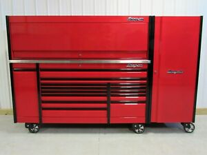 Snap On Candy Apple Red 84 Epiq Tool Box Stainless Top Hutch Full Size Locker