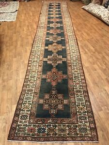 Hand Knotted Antique Pure Wool Runner Size 3 6 X 18 Captivating Geometrics