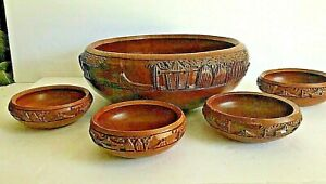 Vintage Woodenware Salad Bowl Set Hand Carved Philippines Village 5 Pieces