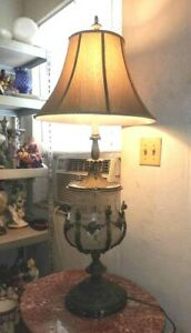 Vintage Huge Bronze And Cut Glass Table Lamp