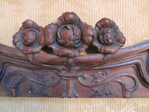 Pair Antique Cabbage Roses French Nouveau Carved Walnut Small Wood Pediments
