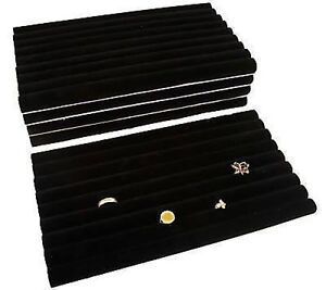 5 Piece Black Velvet Ring Display Jewelry Trays Inserts