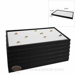 6 Black Plastic Stackable Trays W White 72 Ring Display Jewelry Inserts