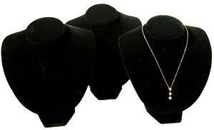 Set Of 8 Black Velvet Necklace Jewelry Display Busts