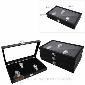 4 Black Wooden Glass Top Display Storage Watch Cases W 18 Removable Holders
