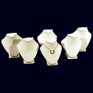 6 White Leather Necklace Jewelry Display Busts 2 5 8