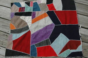 Antique Crazy Quilt Top Embroidered Piece Repurpose Wonderful