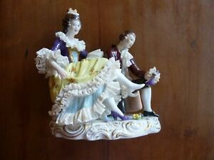 Antique Volkstedt Rudolstadt Dresden Porcelain Large Figural Group Man Woman