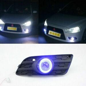 Fog Lights Kit Cob Angel Eye Bumper Cover Lens For Mitsubishi Lancer Ex 2013