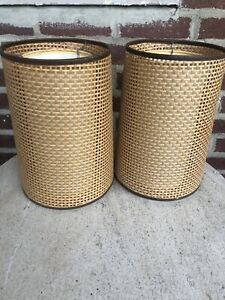2 Mid Century Modern Table Lamp Pair Fiberglass Caned Double Shades
