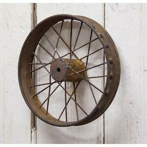 Antique Industrial Rustic Primitive Bike Wheel Small Wall Decor Pictures Floral