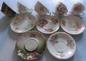 5 Sets Bone China Tea Cups And Saucers Limoges Rw Bavaria Spencer Stevenson