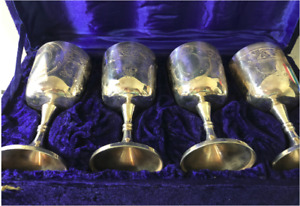 Set Of 4 Vintage Silver Plate Wine Cups Chalices Goblets