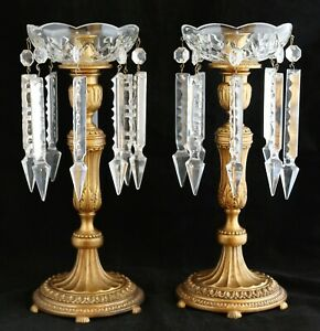 Pair Of Candlesticks Antique Bronze Brass Crystal Bobeche Prisms