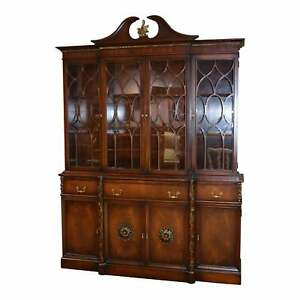 Vintage Karges Two Piece Mahogany Regency Style China Cabinet W Butlers Desk