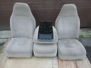 92 96 97 Ford Pickup Truck Front Bucket Jump Seats Console 40 20 40 Tan