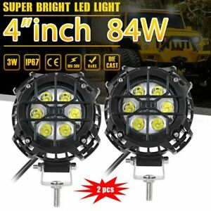 Pair 4inch 90w Round Led Work Light Bar Spot Flood Offroad Driving Fog Lamp 12v