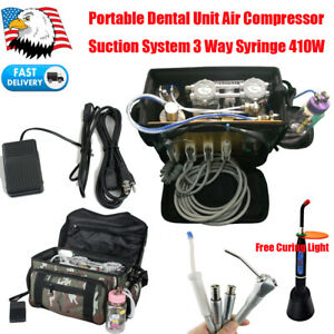 Portable Dental Turbine Delivery Unit Compressor Suction Syringe Backpack 410w