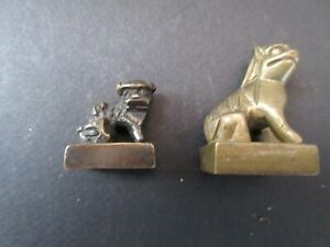Bronze Chinese Chops Seals Set Of 2 Dogs