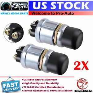 2x Car Boat Track Switch Push Button Horn Engine Start Ignition Starter 50a 12v
