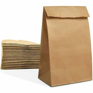 Gift Bags 100 Large Paper Grocery Bags 12x7x17 Kraft Brown Heavy Duty Sack For