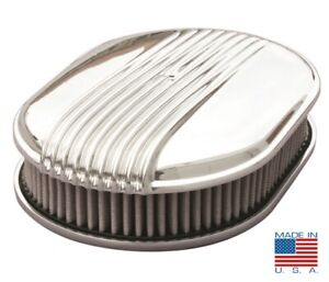12 Finned Oval Air Cleaner Polished Fading Fins Show Quality