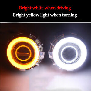 2xcob 3020 led Angel Eye Halo Ring Kit White Amber Lamp Light W turn Signal Part