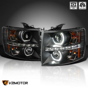 For Black 2007 2014 Chevy Silverado Led U Halo Projector Headlights Left Right