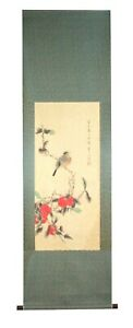 Ga023 100 Hand Painted Flower Bird Chinese Ink Scroll Painting