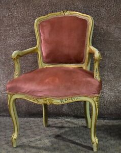 Vintage Painted French Provincial Style Boudoir Chair