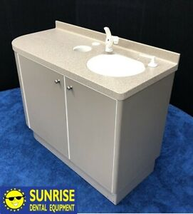 Adec 5531 Dental Side Cabinet W Sink shadow Gray 44 l Solid Countertop