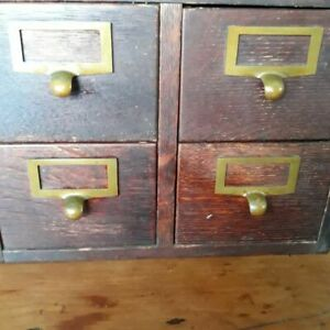 Antique Globe 4 Drawer Card Catalogue File Cabinet And Safe Guard Check Writer