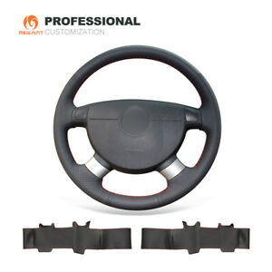 Black Genuine Leather Steering Wheel Cover For Chevrolet Lova Aveo Buick Excelle