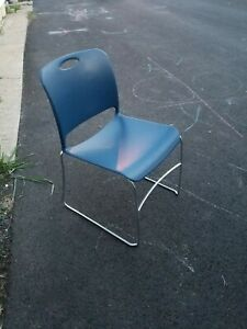 6pc Lot Of Hercules Hard Vinyl Stacking Chairs With Chrome Legs color Blue