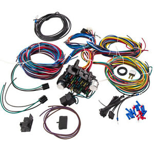 Universal 21 Circuit Wiring Kit Harness Hot Rod Lighter 17 Fuses For Chrysler
