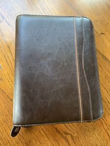 Day timer Leather Or Leather like Vintage Planner Organizer Brown 7 Rings Agenda