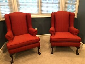 Antique Wingback Chairs Set Of 2 Red