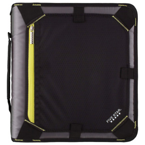 Five Star Zipper Binder 2 Inch 3 Ring Expansion Panel Durable Black yellow