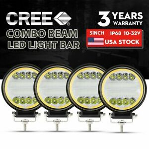 4x 4inch 5 Round Led Work Lights Combo Beam Offroad Fog Driving Light 12v 100w