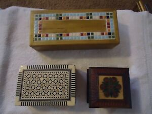 Lot Of 3 Vintage Boxes 2 Handmade Mop Mosaic 1 From Poland Carved Painted Wood