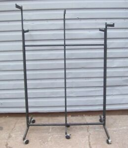 Store Display Fixtures Six Arm Clothing Garment Rack On Rollers