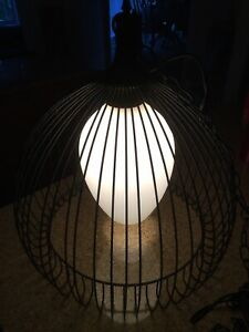 Vintage Original Midcentury Wire Cage Hanging Lamp Light Atomic Ranch Style
