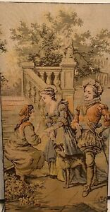 Antique Large French Tapestry Victorian Garden Scene 50 X 26
