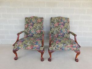 Sam Moore Chippendale Style Paw Foot Accent Chairs A Pair
