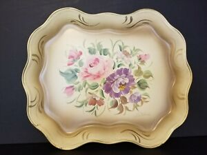 Beautiful Vintage Toleware Hand Painted Signed Floral Heavy Metal Tray 17 X14